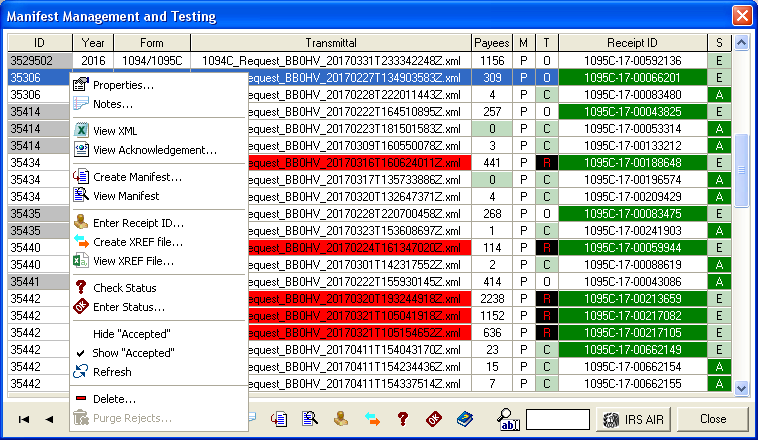 ACA 1095-B, 1095-C Manifest Management and Testing